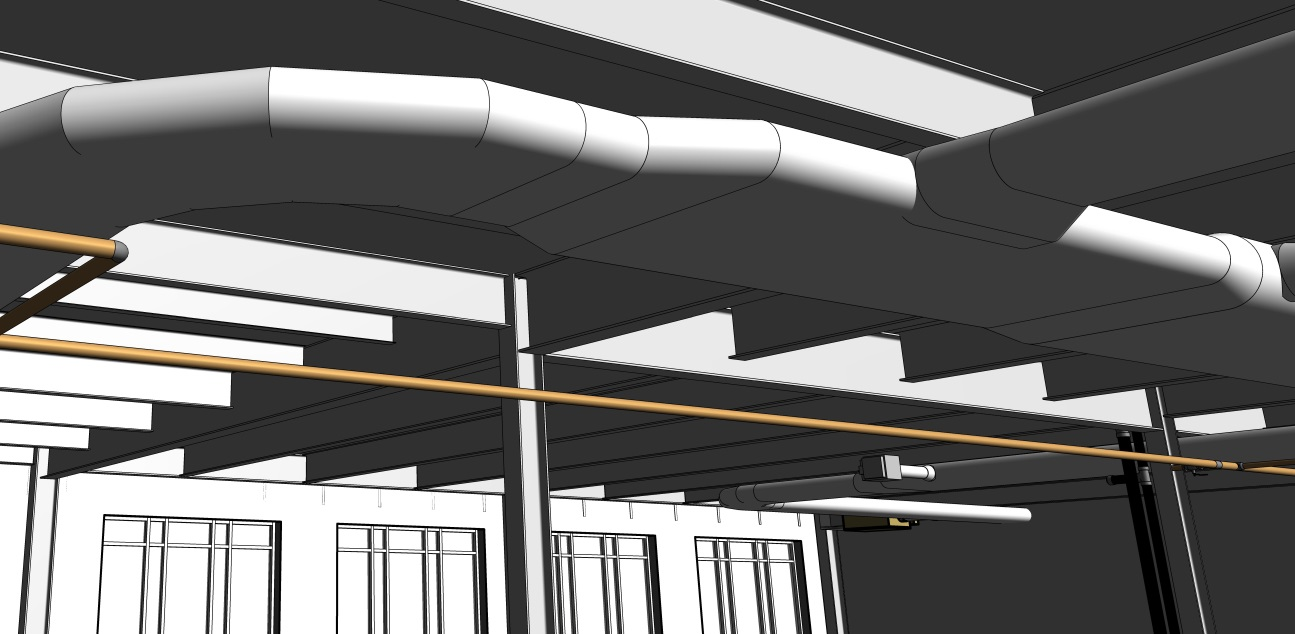 Revit model of ductwork at MCR Safety Office